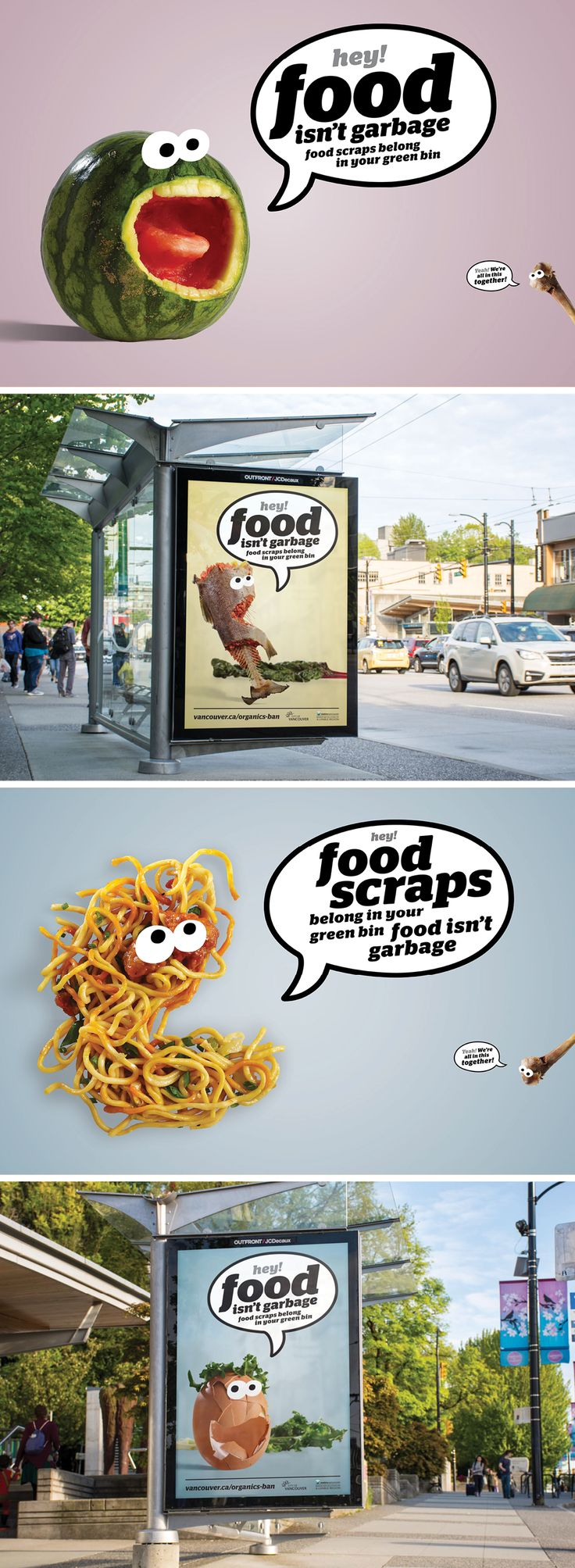 Food isn't garbage. A organics recycling advertising campaign for Metro Vancouver featuring talking food and humour to reduce waste. | Ion Brand Design #inspiration #green #campaign #advertising #design #transit #zerowaste