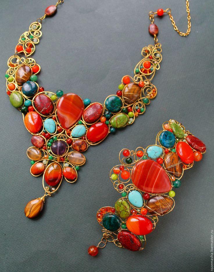 Купить Браслет Зачарованный Июль - оранжевый, комплект, wire wrap, винтаж, модерн, ар-нуво