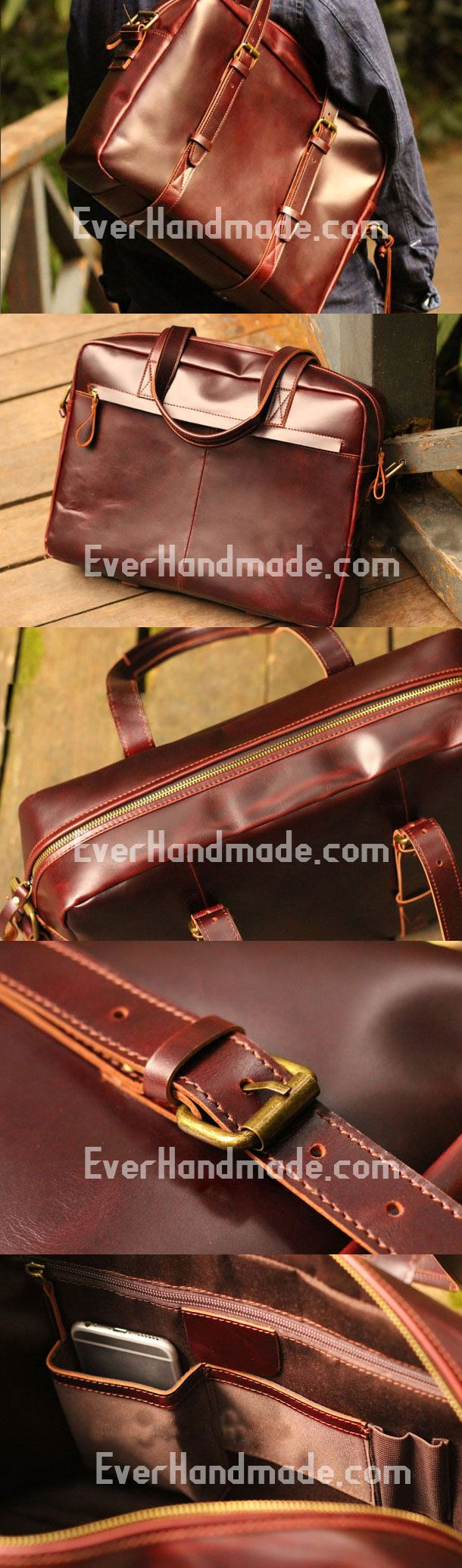 Genuine Leather Mens Briefcase Messenger Bag Laptop Bag Shoulder Bag