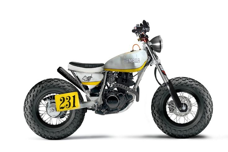 """Yamaha TW200 Custom Racer """"Photoshop-custom"""" Looking for all the world like a perfect breach-racer, Joao fitted the TW200 with a 1974 Yamaha Trial TY250 fuel tank, a set of enduro grade WP front forks, Renthal handlebars with knuckle protection and a machine gun style exhaust."""