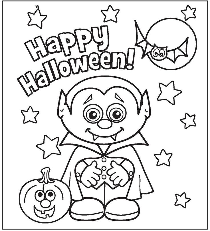 The Vampires On Halloween Day Coloring Picture For Kids