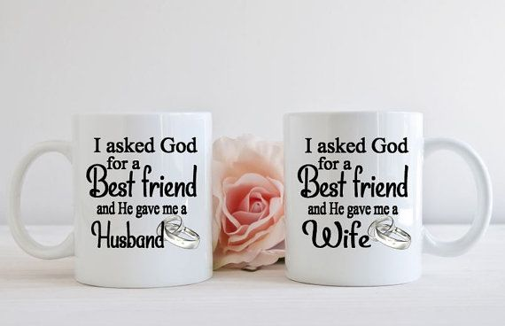 Mr and Mrs Mug Set, My husband my best friend, Wedding Gift, Husband and wife mugs, Best friend mugs, His and hers mug set, Newlywed gift