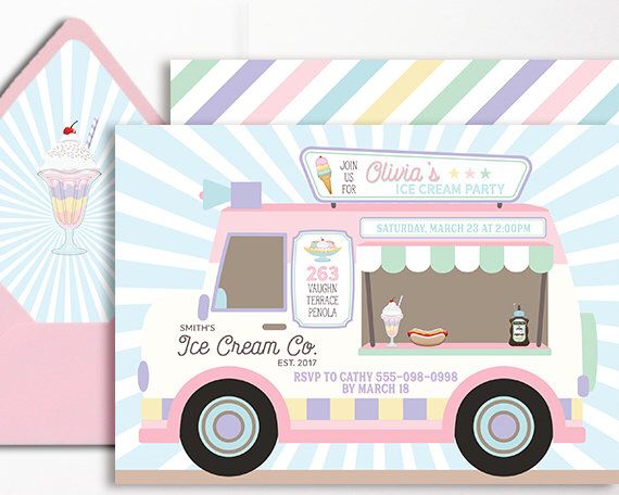 Ice Cream Invitation Truck Ice Cream Party Parlor Parlour Printable Pink Purple Mint Van Ice Cream Social Girls Birthday 1st 2nd 3rd 4th 5th de WestminsterPaperCo en Etsy https://www.etsy.com/es/listing/521726877/ice-cream-invitation-truck-ice-cream