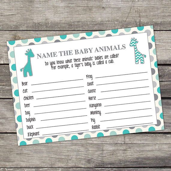 Teal and Gray Giraffe Baby Animals Name Game - Baby Shower Game - Sprinkle Baby…