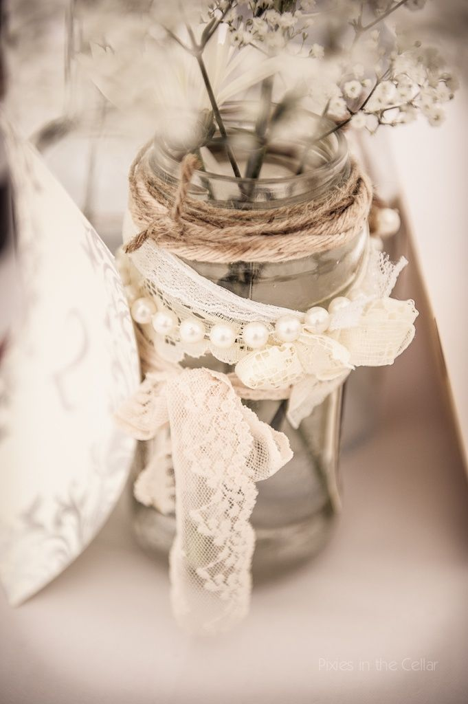 Bottles and Jars with lace and pearls   Jam-jar table decorations, vintage lace and pearls, photography Pixies ...