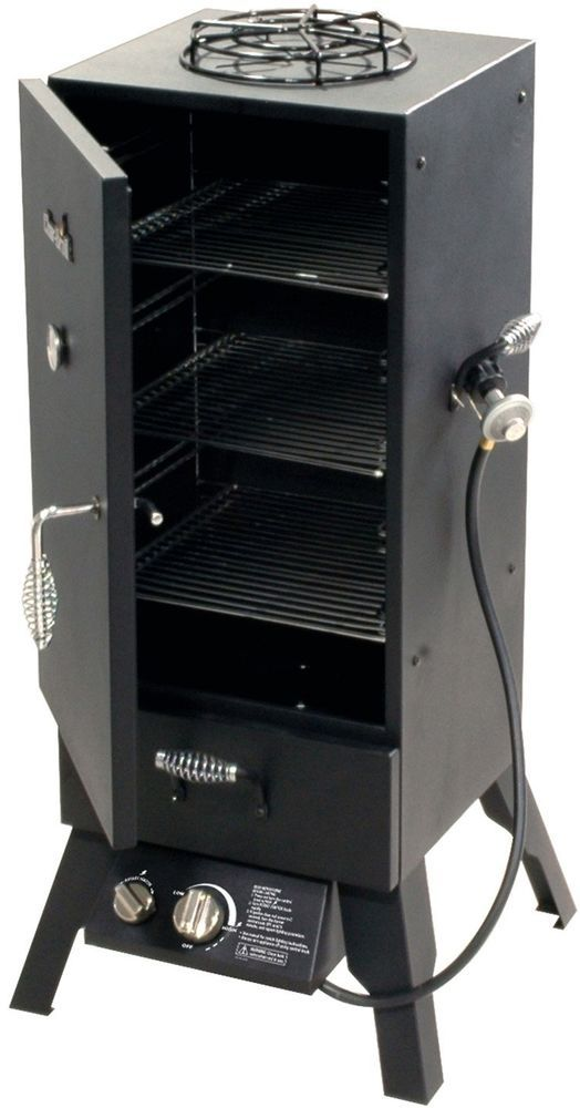 Vertical Gas Smoker Bbq Grill Double Walled Outdoor Barbecue Meat Propane Patio #GasSmokerCollection
