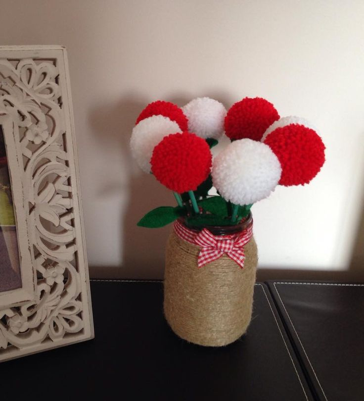 twine wrapped jar with red and white pompom flowers https://www.facebook.com/AndiesAccessories/photos/a.1088836111143103.1073741890.251860708173985/1098745210152193/?type=3&theater