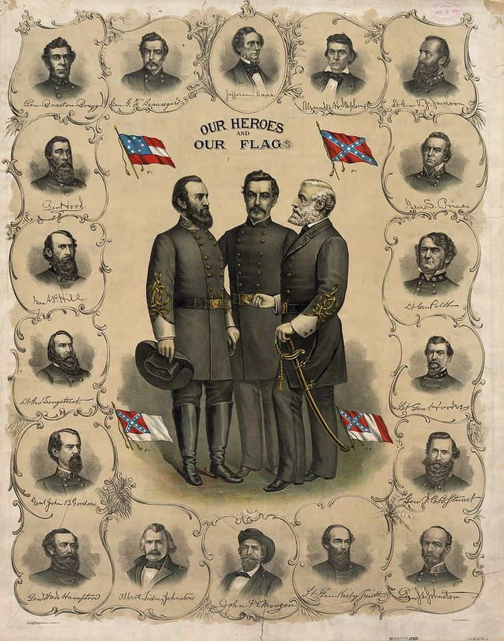 Confederate Flag History | Four versions of the flag of the Confederate States of America are shown on this print from 1896. Standing at the center are Stonewall Jackson, P. G. T. Beauregard, and Robert E. Lee, surrounded by bust portraits of Jefferson Davis and Confederate Army officers.