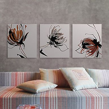 Stretched Canvas Print Art Abstract Lotus Set of 3 – AUD $ 70.82