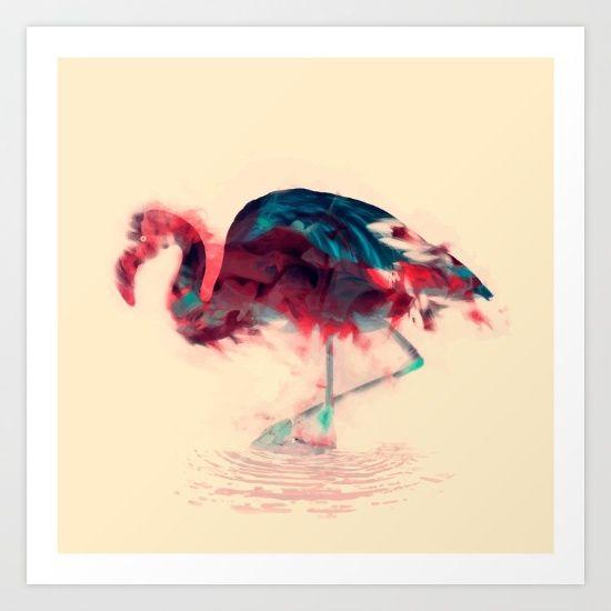 Abstract flamingo water born