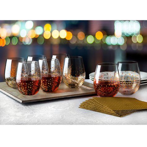 Shannon Crystal Gold Luxe Stemless Wine Goblets, Set of 8