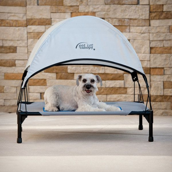 This outdoor pet canopy bed that you'll be dying to fit onto when it gets too hot in the sun. | 19 Delightful Pet Products That You'll Love As Much As They Will