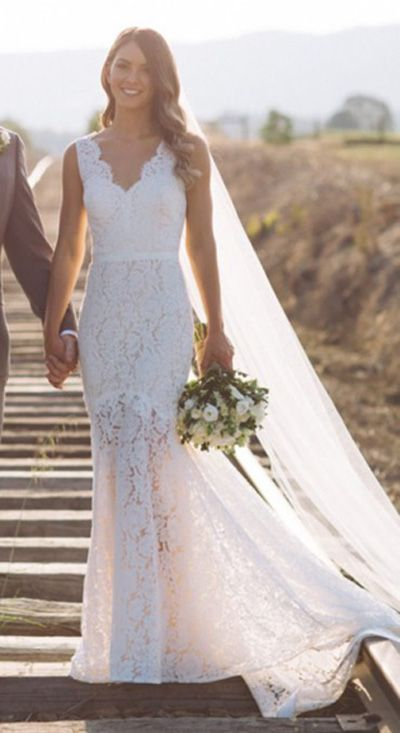 Simple V Neck Fit&Flare Wedding Gowns,Sweep Train Hollow Floral V Back Beach Wedding Dress OMW64  Wedding Gowns, Cheap Wedding Dress, Beach Wedding Dress, Formal Dress, Bridesmaid Dress, Simple Wedding Dress.