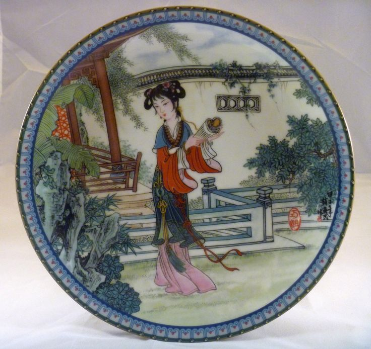 """1987 - Beauties of the Red Mansion #12 Chiao-chieh named also in story:贾巧姐orJia Qiaojiehaving the meaningClever Older Sister Manufactured by Imperial Jingdezhen  size 8 1/2"""""""