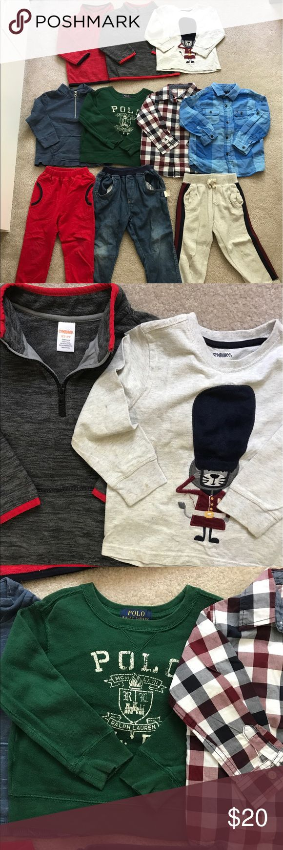 10 pieces of boys clothes bundle The first row is 2T, the others are 3T. Brand: Gymboree, polo by Ralph Lauren, Tommy Hilfiger, Cherokee and other brands. Gymboree Matching Sets