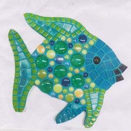 Poisson en mosaïque couleur vert-bleu. Kit mosaïque sans découpe
