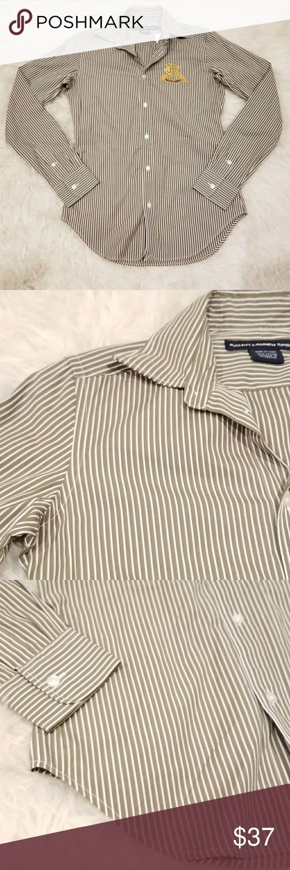 """Ralp Lauren Sport Women's Sage/White Blouse Ralp Lauren Sport Women's Sage/White Striped Long Sleeve Gold Crest NWT Size 2. New item in excellent condition.  Pit to pit: 18""""  Waist: 15""""  Length: 26""""  (Please see pictures for description and item features) Ralph Lauren Tops Button Down Shirts"""