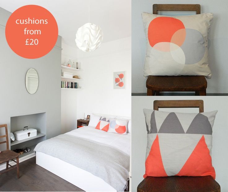 Get The Look Bright Coral And Grey Bedroom