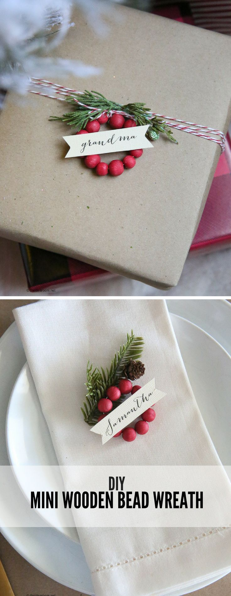 Christmas | Christmas Wrapping | Christmas Present | Christmas Table Setting | Add these Mini Wooden Bead Wreaths to your dinner table or to spruce up and package. #giftwrapping