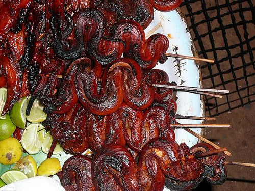 Cambodia cambodian food grilled meat snake snake on a ...