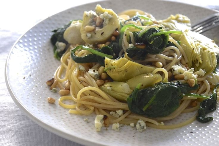5 or less: Spaghetti met artisjok en blauwe kaas #chees #spaghetti #artichoke