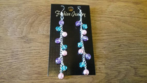Buy at: https://www.etsy.com/uk/shop/KinleysDesigns  #girly #pink #blue #purple #pastel #chain #earrings #longearrings #accsessories #homemade #jewelry