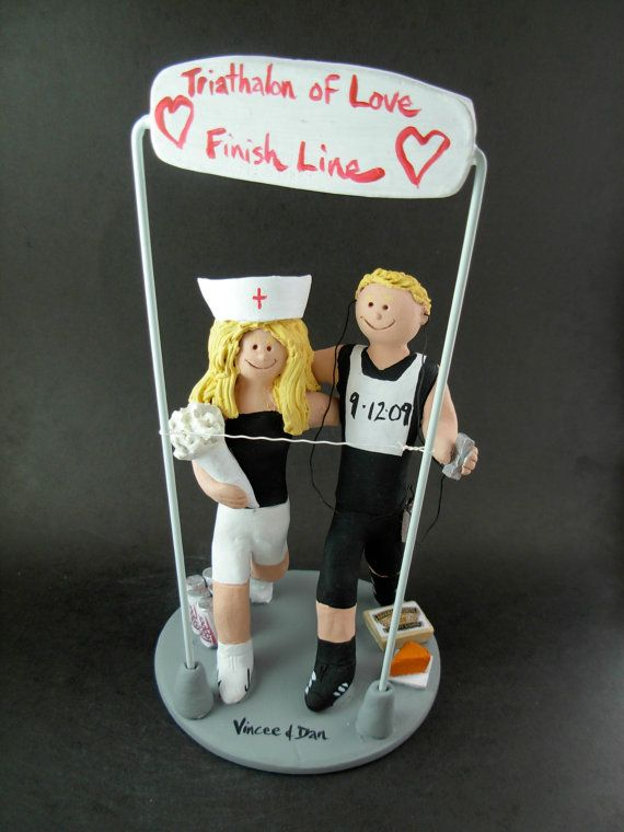 Joggers Wedding Cake Topper    Triathlon Wedding Cake Topper custom created for you! Perfect for marriage of a Triathlon Running Groom and his Bride!    $235   #magicmud   1 800 231 9814   www.magicmud.com
