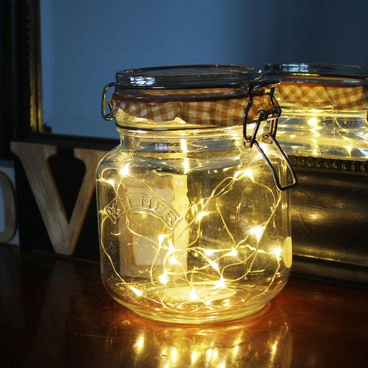 Kilner Jar Fairy Lights Lamp / fairy lights bottle / kitchen lighting / decorative lighting / Mothers's day gifts / wedding decorations by SuzieValentineAllan on Etsy