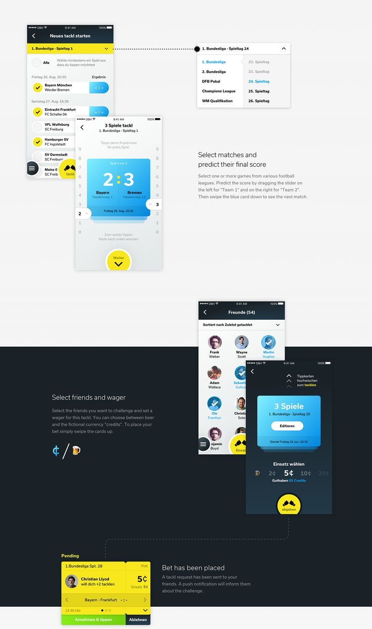 tackl social betting app on Behance