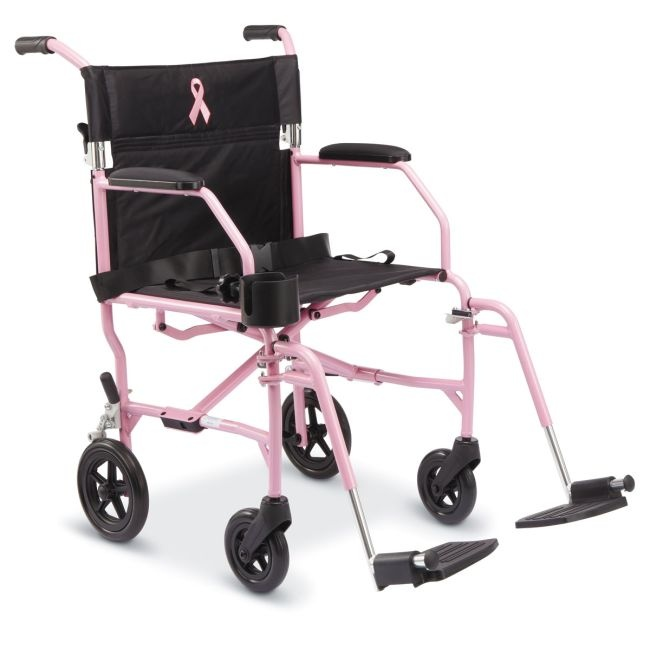 Proceeds from Medline Breast Cancer products will be donated to Breast Cancer awareness programs.   This chair comes with a cupholer, seat belt, and a seatback carry pocket.