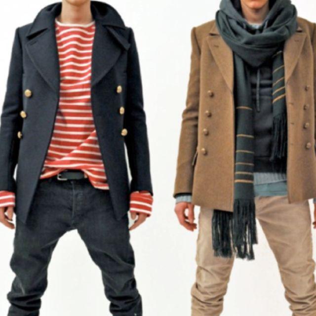 ///: Men'S Fashion Nautical, Captain Jackets, Clothing, Men'S Fashion Styles, Action Heroes, Scarves, Stripes, Peacoats, Peas