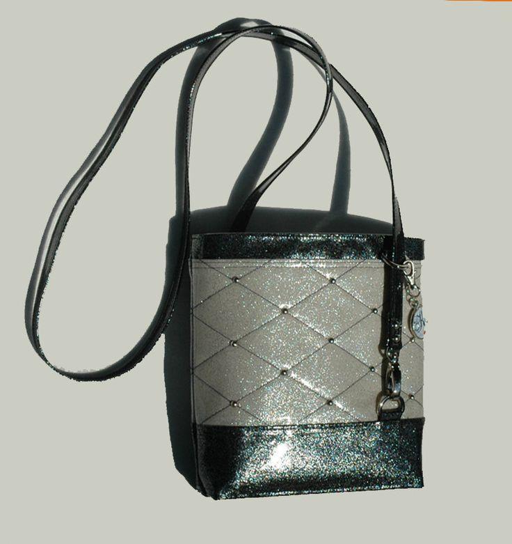 White & Black Glitter Vinyl #CrossbodyBag #GlitterBag Vinyl Bag #SoKwaint Bag Black Bag White Bag #Vegan Bag Faux Leather handbag by #KwaintAccessories on Etsy