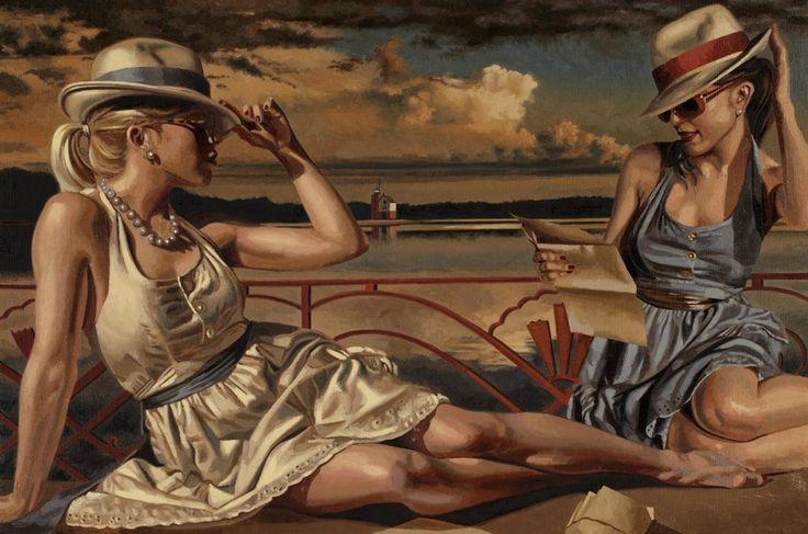 Peregrino heathcote, pintura, desenho, menina, Verão, férias, chapéu, óculos de sol, vestidos Vetor