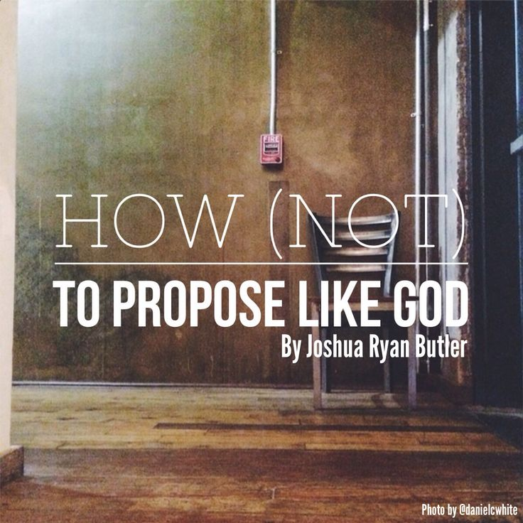On understanding God's character + proposal guidelines.