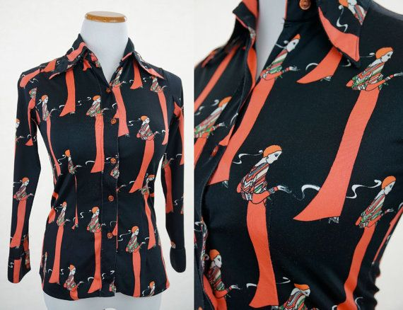 Psychedelic Mid-60s to Mid-70s Smoking Lady Blouse Medium