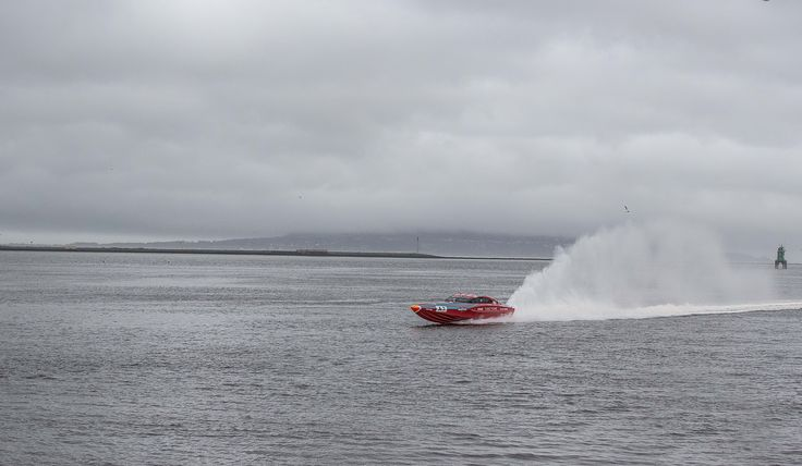Powerboat racing across Dublin Bay. Venture Cup Race