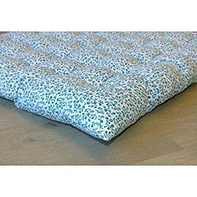 Matelas de sol Coton imprimé Liberty 60x120 cm bleu canard et blanc