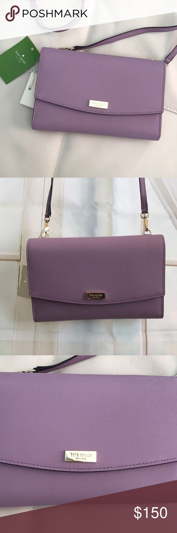 """NWT KATE SPADE WINNI LAUREL WAY LILAC CROSSBODY Authentic KATE SPADE Winni Laural Way Clutch/Wallet/Crossbody  WLRU2667 Color is Lilacpetal (light purple) Has a detachable leather strap with a 24"""" drop length. Double snap closure. One exterior full length slip pocket. One interior full length slip pocket. One interior full length zippered storage pocket. Seven interior credit card slots. Approximate measurements: 7 1/4"""" x 4 3/4"""" x 1 1/2"""". Gold colored hardware. MFSRP $199.00  📌NO TRADES…"""