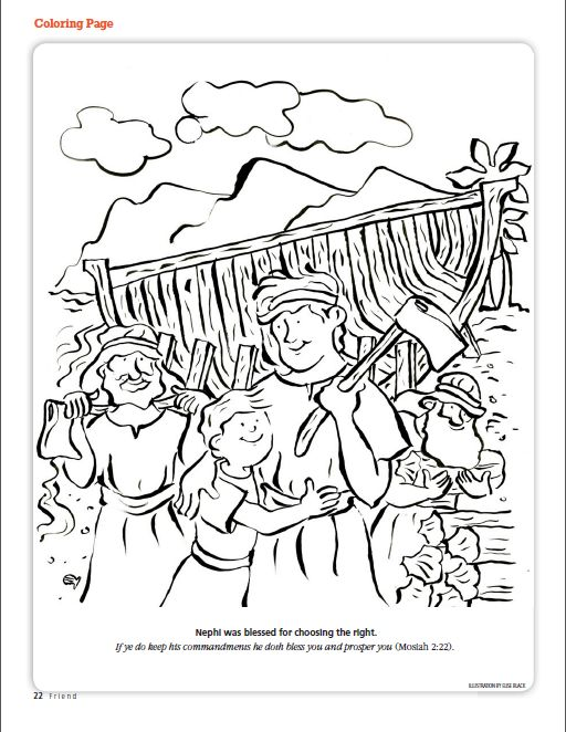 Nephi Was Blessed For Choosing The Right LDS Friend Magazine Coloring Page