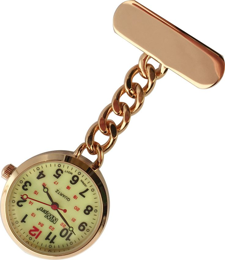 NW-Pro Lapel Nurse Watch - Large Glow-in-the-Dark Dial - Water Resistant - Chained - Rose Gold Tone