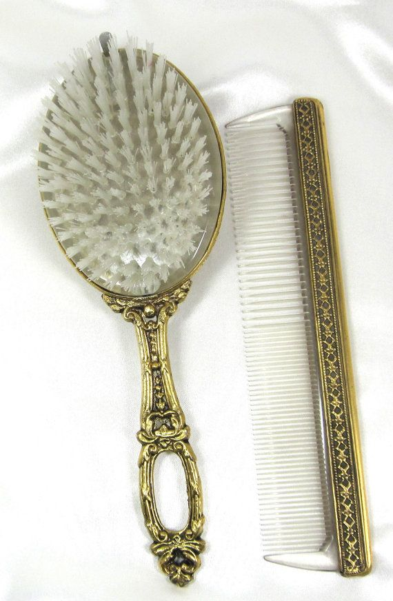 Rare Vintage French Brush And Comb Set Smoky Topaz