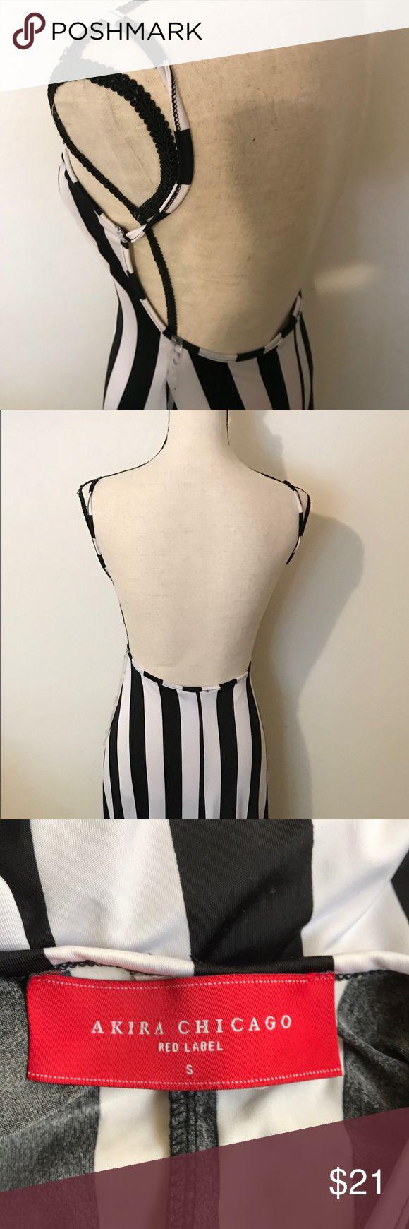 "Akira Chicago red label stripe long dress Black and white stripes ,Backless dress, see through,length 52"",chest 13"" akira Dresses Maxi"