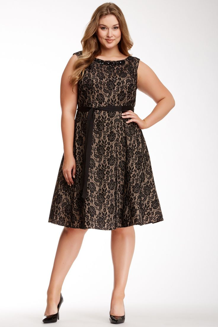 S.L. Fashions Belted Lace Party Dress (Plus Size) on HauteLook