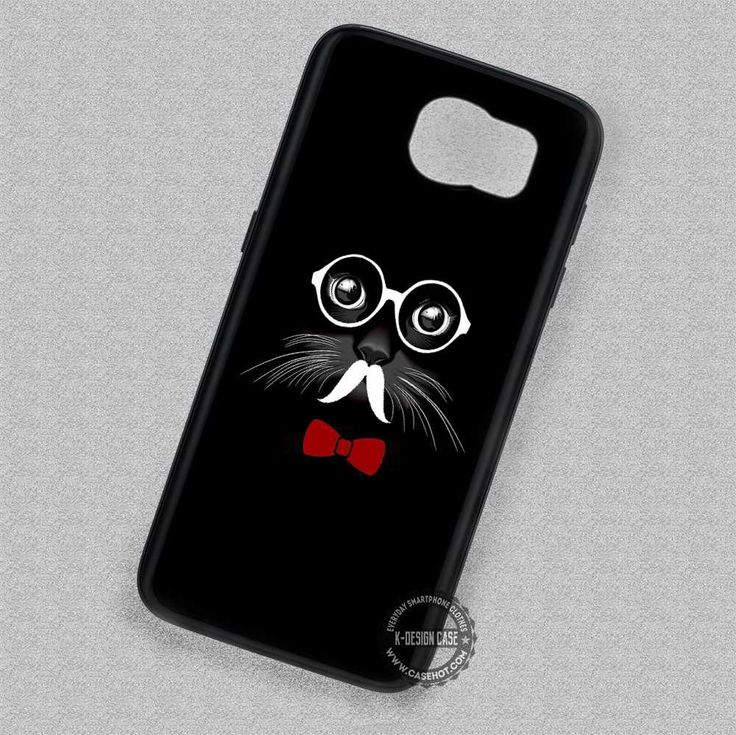 Black French Mustache Glasses Bowtie Cat - Samsung Galaxy S7 S6 S5 Note 4 Cases & Covers