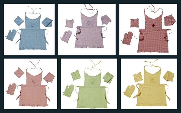 """Super cute 4pc Kid's Apron sets by Victorian Heart.    4pc set contains: 1-pot holder 5x5"""" with 1"""" loop for hanging 100% cotton shell with thermal cotton lining; 1-oven mitt 7.5"""" long with hand opening of 4"""" and 1"""" loop for hanging, 100% cotton shell with thermal cotton lining; 1-tea towel 9x12"""", 100% cotton; 1-full apron, 20"""" from neck to bottom of ruffle, 16"""" wide at waist, 2-15"""" neck straps, 2-15"""" waist ties.  Set packaged in zippered poly bag with Child Safety Warning and UPC sticker."""