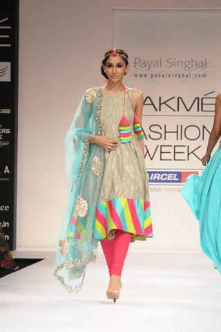 Ash Grey Banarsi Kurta, Color Block Churidaar and Embroidered Net Dupatta. SHOP THE LOOK AT http://www.payalsinghal.com/off-the-runway/ash-grey-banarsi-kurta