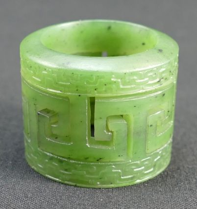 Rare 20th century Pottery, Antique, Collectors and Fine Art Auction – Lot 890 – Qing Dynasty (1644-1911) A Chinese yellow Jade stylized banzhi ring, diameter 3.2cm.  Sale Price £820.00.