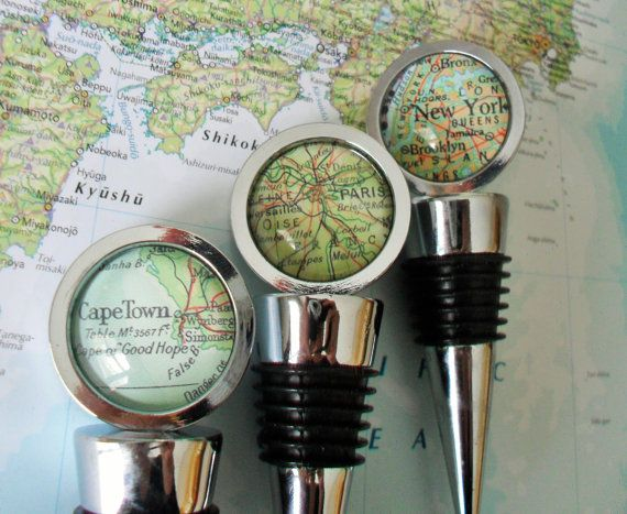 CUSTOM MAP Wine Bottle STOPPER / Any Location / by BjeweledVintage