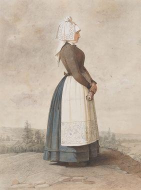 Västra Göinge härad, Skåne Date: 1810 - 1857 DigitaltMuseum - Dräkt. Kvinna stående i helfigur med vitt förkläde. Akvarell i storformat av O. Wallgren