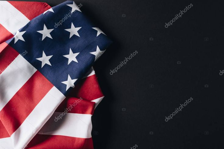 Folded national flag usa isolated black memorial day